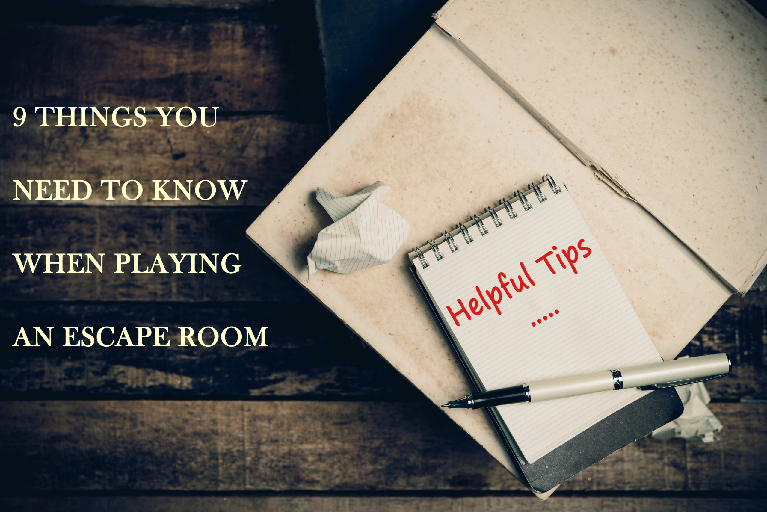 Helpful Tips word on pages sketch book on wood table vertical